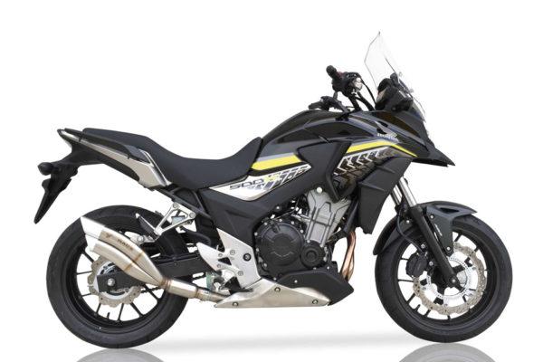 IXRACE 2 svart Rostfri Endcap Honda CBR 500 R / CB 500 F, 13-15, CB 500 X, 13-16