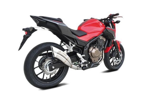 IXRACE 2 svart Rostfri Endcap Honda CBR 500 R / CB 500 F, 16- , Dualexit, E-märkt.