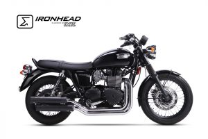 Auspuff Komplettanlage, Triumph Bonneville T100, 07-15 - schwarz
